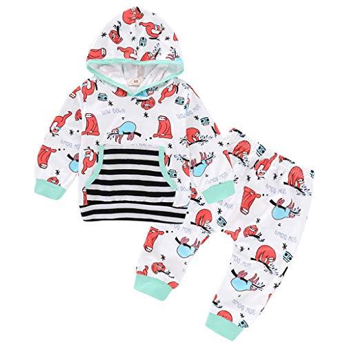 WOCACHI 2Pcs Winter Toddler Baby Kids Girls Boys Christmas Santa Long Sleeve Tops Pants Pajamas Sleepwear Set 1-5 Years