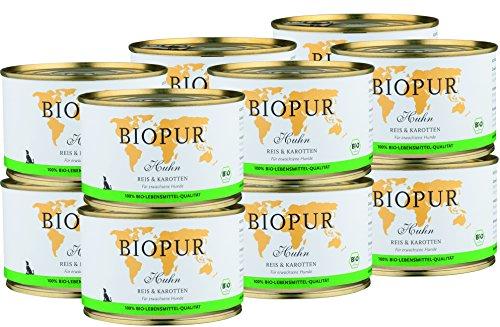 BIOPUR Bio Hundefutter Huhn, Reis & Karotten für Hunde 12x400g
