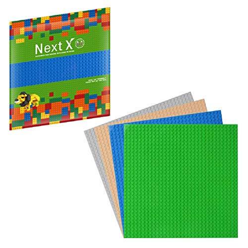NextX 4 Stück Bauplatte für Classic Bausteine Plastik Grundplatte 25 x 25 cm - Grün+Grau+Sand…