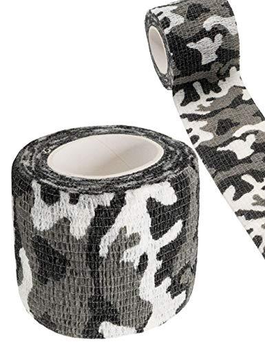 Outdoor Saxx® - Cinta de camuflaje, cinta de tela, camuflaje, resistente al agua, varias veces, cámara, equipo, cazador, pescador, fotografía, camuflaje negro/blanco, 4,5 m.