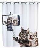 Wenko 22482100 Anti-Schimmel Duschvorhang Selfie Cat Flex, Anti-Bakteriell, wasserabweisend, waschbar, schimmelresistent mit integrierter Hängeeinrichtung, 100prozent Polyester, 180 x 200 cm, mehrfarbig