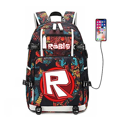 Mochila multifuncional, bolsas casuais modernas, conveniente mochila para computador com porta de carregamento USB, A-red, One Size