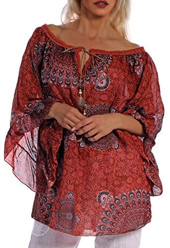 Tunika Bluse dreiviertelarm im Ethno Graphic Style Oversize (Rostbraun, One Size)
