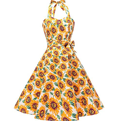 Berimaterry 50s Vestidos Vintage Retro Rockabilly Clásico Vestidos Corto Cuello Halter Estampado Flores y Lunares Vintage Retro Fiesta 50s 60s Rockabilly Mujer