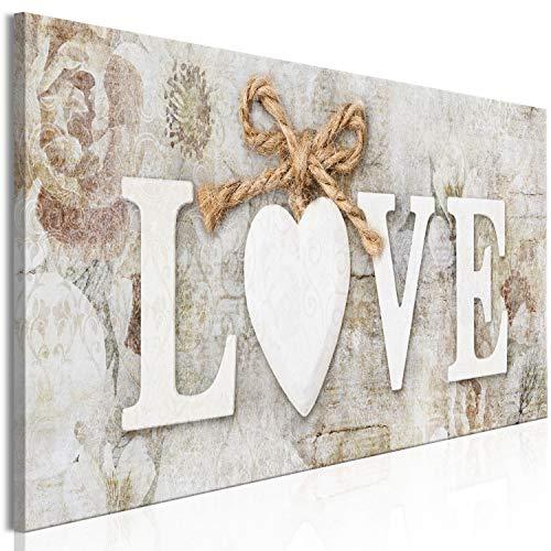 murando Cuadro en Lienzo Love 135x45 cm Impresión de 1 Pieza Material Tejido no Tejido Impresión Artística Imagen Gráfica Decoracion de Pared - Inscripción Cupido Madera Vintage Corazón m-C-0457-b-a