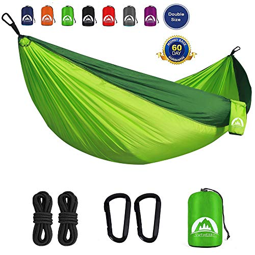 SWTMERRY- Double Camping Hammock Lightweight Nylon Portable, Hammocks with Tree Straps, Hammock 2 Person Heavy Duty, Hammock Backpacking Lightweight, for Adults Kids Hiking Beach (Fruit Green & Green)