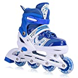 Kids Adjustable Inline Skates with Flashing Light Up Wheels for Boys and Girls,Ice