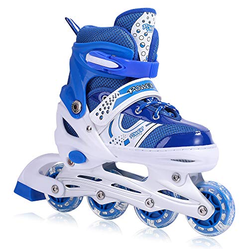 Kids Adjustable Inline Skates with Flashing Light Up Wheels for Boys and Girls,Ice Skating Equipment Small&Medium Size Safe and Durable Children Roller Skates Perfect for Beginners (Medium-Blue)
