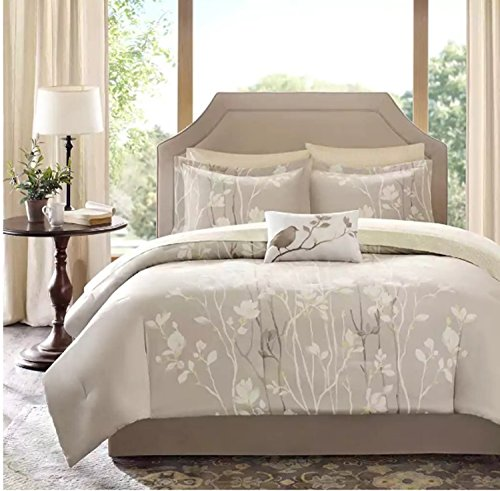 9 Piece Floral Tree Branches Motif Comforter Set Full Size, Featuring Elegant Nature Inspired Bird Design Comfortable Bedding, Stylish Contemporary French Country Themed Bedroom Decor, Brown, White