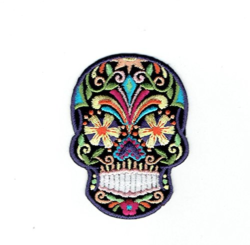 Black Sugar Skull - Blue/Yellow Flower Eyes- Day of The Dead - Dia De Los Muertos - Embroidered Iron on Patch
