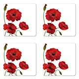 Ambesonne Floral Coaster Set of 4, Poppy Flowers Vivid Petals with Buds Pastoral Purity Mother Earth Nature Design, Square Hardboard Gloss Coasters for Drinks, Standard Size, Red Green