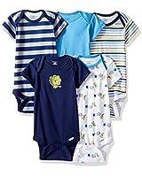 GERBER Baby Boys' 5-Pack Variety Onesies Bodysuits, Safari, 0-3 Months