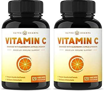 2 Pack  Vitamin C 1000mg with Elderberry Citrus Bioflavonoids & Rose Hips - 120 Capsules Vegan Non-GMO Antioxidant Supplement for Immune Health & Collagen Production 500mg Powder Pills