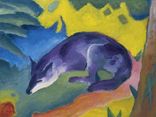 Artland Alte Meister Wandbild Franz Marc Blauschwarzer Fuchs Leinwand Bilder 90 x 120 cm Kunstdruck Gemälde Expressionismus R0KW