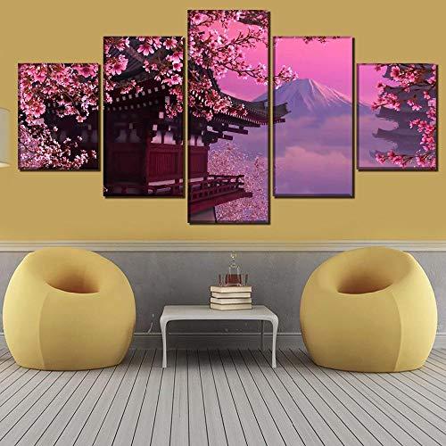 wjdymx canvasdruk muurkunst een set canvasdruk 5 stuks sneeuwbergen kers poster Home decoratieve moderne woonkamer modulaire afbeelding