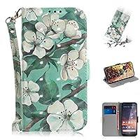 FANYAO 携帯電話のカバーケース 3Dカラードローイング水彩花柄水平フリップレザーケース(ノキア3.2用)、ホルダー&カードスロット&財布付き