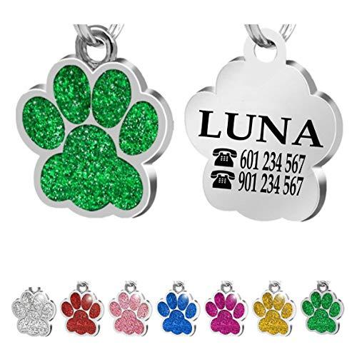 Iberiagifts - Placa Chapa de identificación Personalizada para Collar Perro Gato Mascota grabada (Verde)
