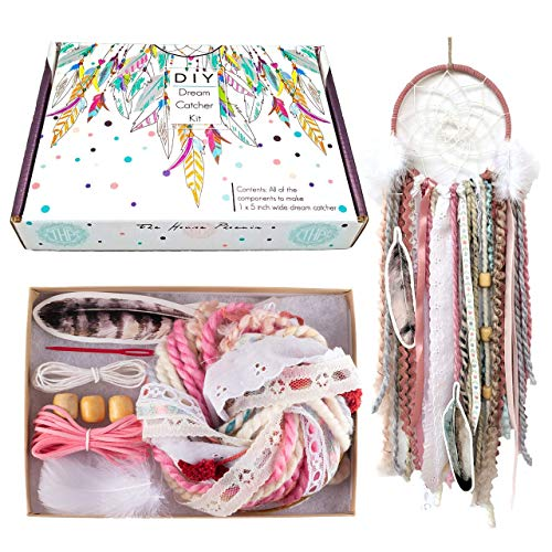 DIY Dream Catcher Kit for Kids Adults Pink Craft Project Make Your Own Dreamcatcher Girls Birthday Gift 5 Inch Ring