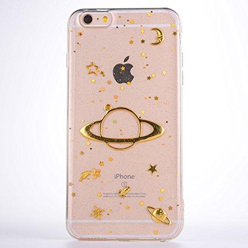 CrazyLemon Hülle für iPhone 6S, Hülle für iPhone 6, 3D Prägung Golden Bling Funkeln Saturn Star Mond Design Weich Slim Transparent Silikon Case Cover TPU Schutzhülle für iPhone 6 6S - Clear