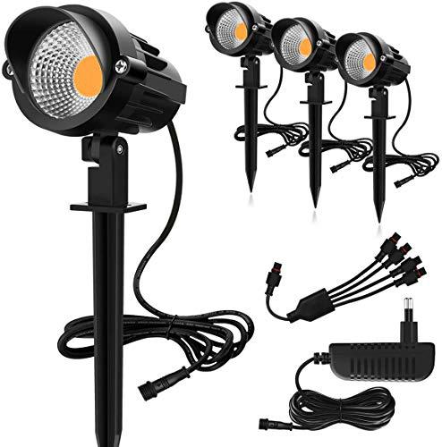 MEIKEE 4 in 1 Gartenleuchte Gartenstrahler Warmweiß COB LED Gartenleuchten mit Erdspieß IP66 Wasserdicht LED Gartenstrahler mit Stecker für Außen Garten Rasen Terrasse