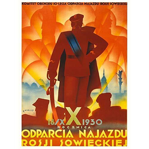 Wee Blue Coo Polityczne wojskowe Polska ZSRR zwycięstwo Pisudski Warszawa sztuka nadruk plakat dekoracja ścienna 30 x 40 cm