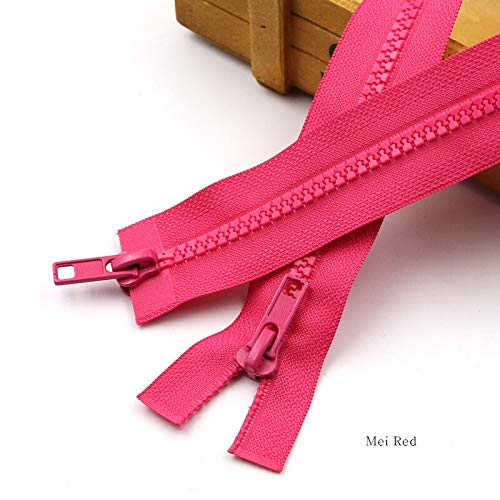1PC Multi kleuren Hars Dubbele Open End Rits Kleding Slaapzak Bed Nets Rits Lock DIY Huishoudelijke Kleding Naaien Accessoires (Kleur : Rood, Maat : 70cm)