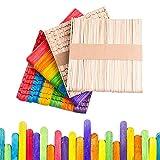 200 PCS Palos de Madera Multicolores Abedul Palitos de Colores Natural Palito de Helado para Manualidades Artesanía de DIY para Niños Palitos Artesanales(Naturales y Multicolores,11,5*1 cm)