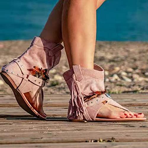 DZQQ Zapatos Casuales para Mujer, Sandalias de Gladiador Romanas con borlas para Mujer, 2021, Botas Sexis de Verano con Punta de Clip, Calzado cómodo para Mujer Nuevo