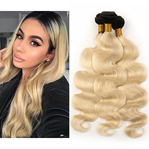 Mila 3 Tissage 8A Brésilien Ondules en Lot Ombre 1B/613# Blond Platine 100% Naturel Humain Cheveux Extensions (16\