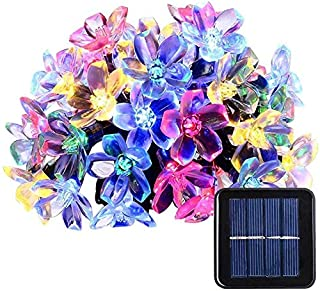 JOYWAY-Blue carbon 200 LED Flower Blossom Solar String Lights, Solar Powered Cherry Blossom Sakura Lights, 8 Modes, Multic...