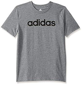 adidas Boys  Big Short Sleeve Cotton Script T-Shirt Linear Logo Dark Grey Large