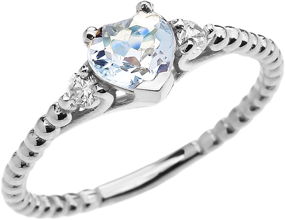 Outlet sale feature 14k White Gold Dainty Topaz and Beaded Aquamarine Elegant St Heart