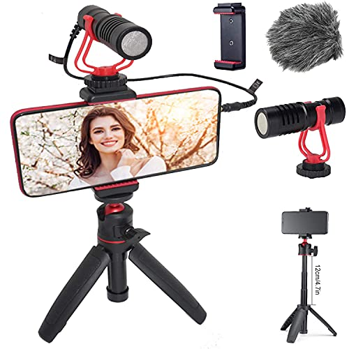 HAFOKO Smartphone Video Kit Vlogging Vlog Kit Vlogger Accessorio Vlog Rig kit con Treppiede Estensibile MiNi Microfono Telefono Supporto compatibile per Fotocamera Telefono YouTube TikTok Living