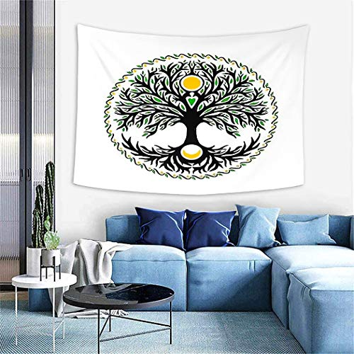 Norse Mythology Tapestry,Celtic Tree of Life Sun and Moon Forest Full Moon Graphic Green,Wall Hanging Wall Decor Blanket for Bedrooms Living Room Tablecloth Dorm Home Decor-60 x80