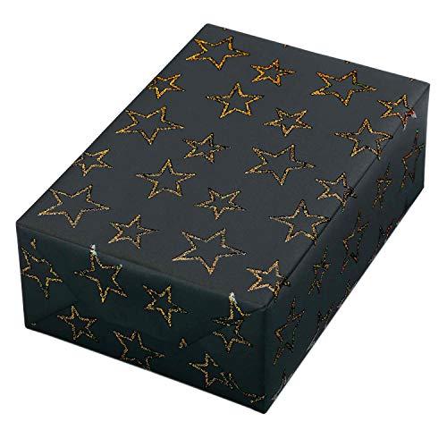 Geschenkpapier Weihnachten 3 Rollen (75 x 150 cm), Motiv Las Vegas, Sternen-Kontur-Design mit Glitter gold auf schwarzem Fond. Für Weihnachten, edles und hochwertiges Weihnachtsgeschenkpapier.