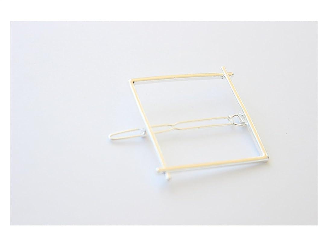 ロイヤリティ均等に偉業Osize 美しいスタイル 幾何スクエアヘアクリップサイドクリップヘアピンヘアアクセサリー(ホワイトゴールド)