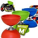 Mister M ✓ L'ultimissimo Set da Giocoliere Diabolo ✓ Stecche Alluminio (Ripiegabile ) ✓ Video Istruzioni Online ✓ Tutto in Una Box Regalo