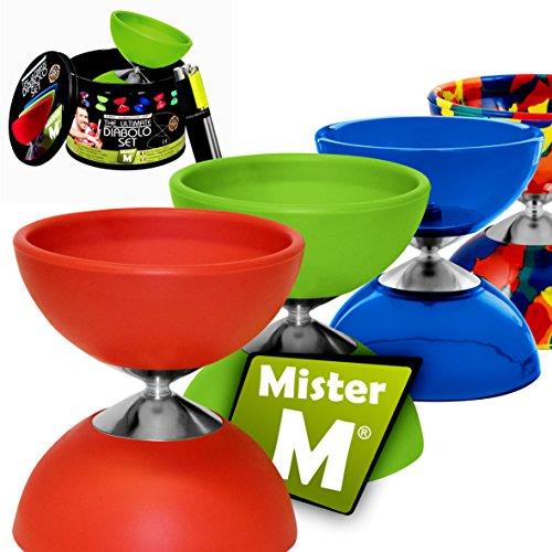 Mister M ✓ Diabolo (CE Geprüft) + Alu Stäbe + GRATIS Online Video in Einer Geschenk-Dose - Das Ultimative Diabolo Set (Rot)