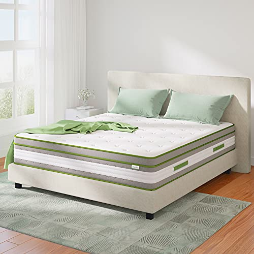 Full Mattress, Novilla 12 Inch Hybrid Pillow Top Full Size Mattress in a Box with Gel Memory Foam & Individually Wrapped Pocket Coils Innerspring for a Cool & Peaceful Sleep
