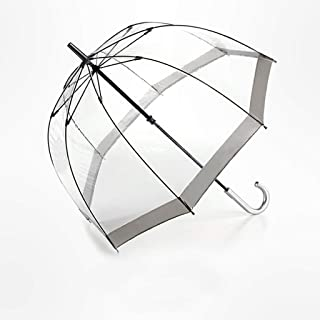 Household Umbrellas Transparent Bird Cage Umbrellas Vintage Long Handle Umbrellas Stainless Steel Umbrellas Available in A Variety of Colors Huhero (Color : Gray)