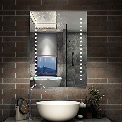AICA Badezimmerspiegel led 50×70 cm - Dopple Touch Beschlagfrei - Enegiesparend 6400K Kaltweiß Badspiegel Stern Serie