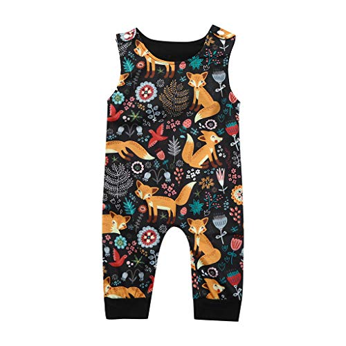 Covermason Babykleidung Säuglingsbaby Jungen Mädchen Strampler Sommer Ärmellos Overall Jumpsuit Karikatur Drucken Kleider … (6-12M, Mehrfarbig)