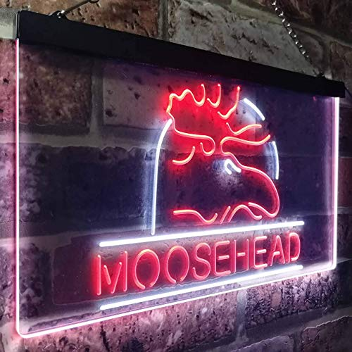 zusme Moosehead Beer Man Keller, LED, Neon-Signal, weiß, mit rotem Motiv, W30 cm x H20 cm
