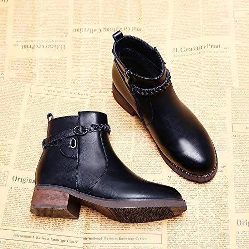 Shukun enkellaarzen winterlaarzen damesschoenen Wilde zwarte verdikking platte onderkant antislip laarzen