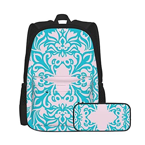 Conjunto de mochila y estuche para lápices, bolsa de ordenador portátil y estuche combinación, mochila de trabajo y estudio y bolsa de cosméticos combinación hermoso cojín turquesa con diseño