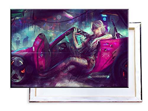 Unified Distribution Witcher - Ciri Cyberpunk - 100x70 cm Kunstdruck auf Leinwand • erstklassige Druckqualität • Dekoration • Wandbild