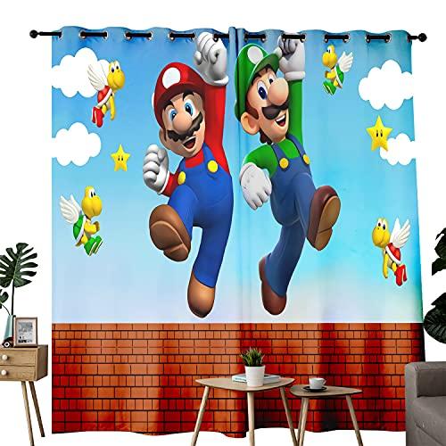 Comic Super Mario Bros. Juego de cortinas de puerta con aislamiento térmico, ahorro de energía, para sala de estar, juego de 2 paneles de cortina de ventana degradado de 100 cm x 150 cm