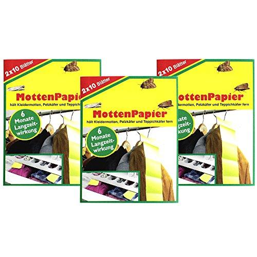 com-four® 60x Mottenpapier, Mottenstopp, Schutz für Ihre Wollsachen, Mäntel, Kleider, Pelze (60 Blatt - Mottenpapier)