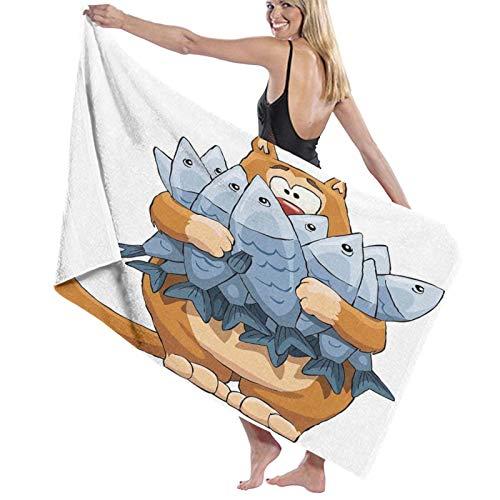 Grande Suave Toalla de Baño Manta,Gato Gordo con Manojo de Peces Muertos hambrientos hambrientos Pero no suficientes Dibujos Animados,Hoja de Baño Toalla de Playa Viaje Nadando,52' x 32'
