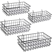 Pegboard Basket Sets – 4-Pack, 3-Pack, or 2-Pack - Hooks to Any Peg Board - Square Style Baskets Hold More - Organize Tools, Accessories, Garage, Storage - Wall Organizer Attachments